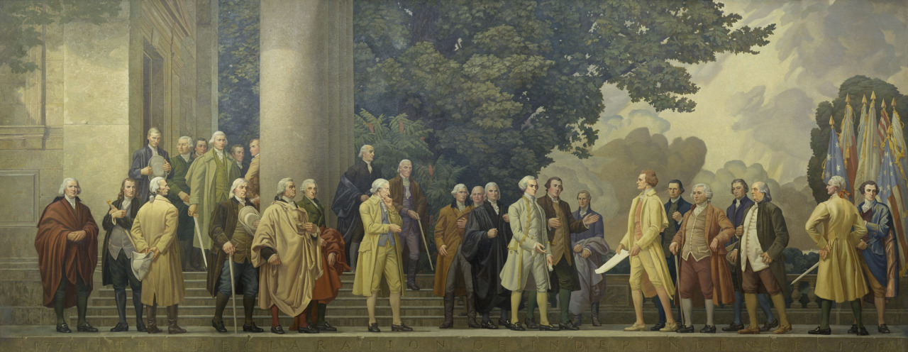 George Washington accepting the Declaration of Independence in 1776, National Archives