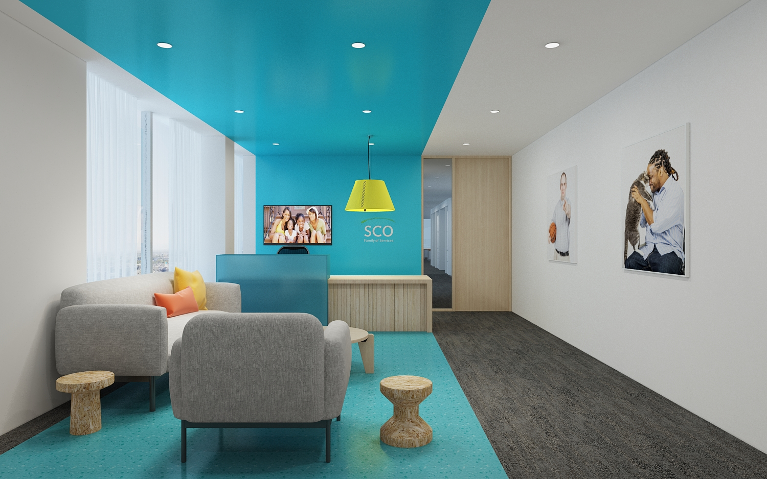 The approachable reception area at SCO Family of Services by Spacesmith