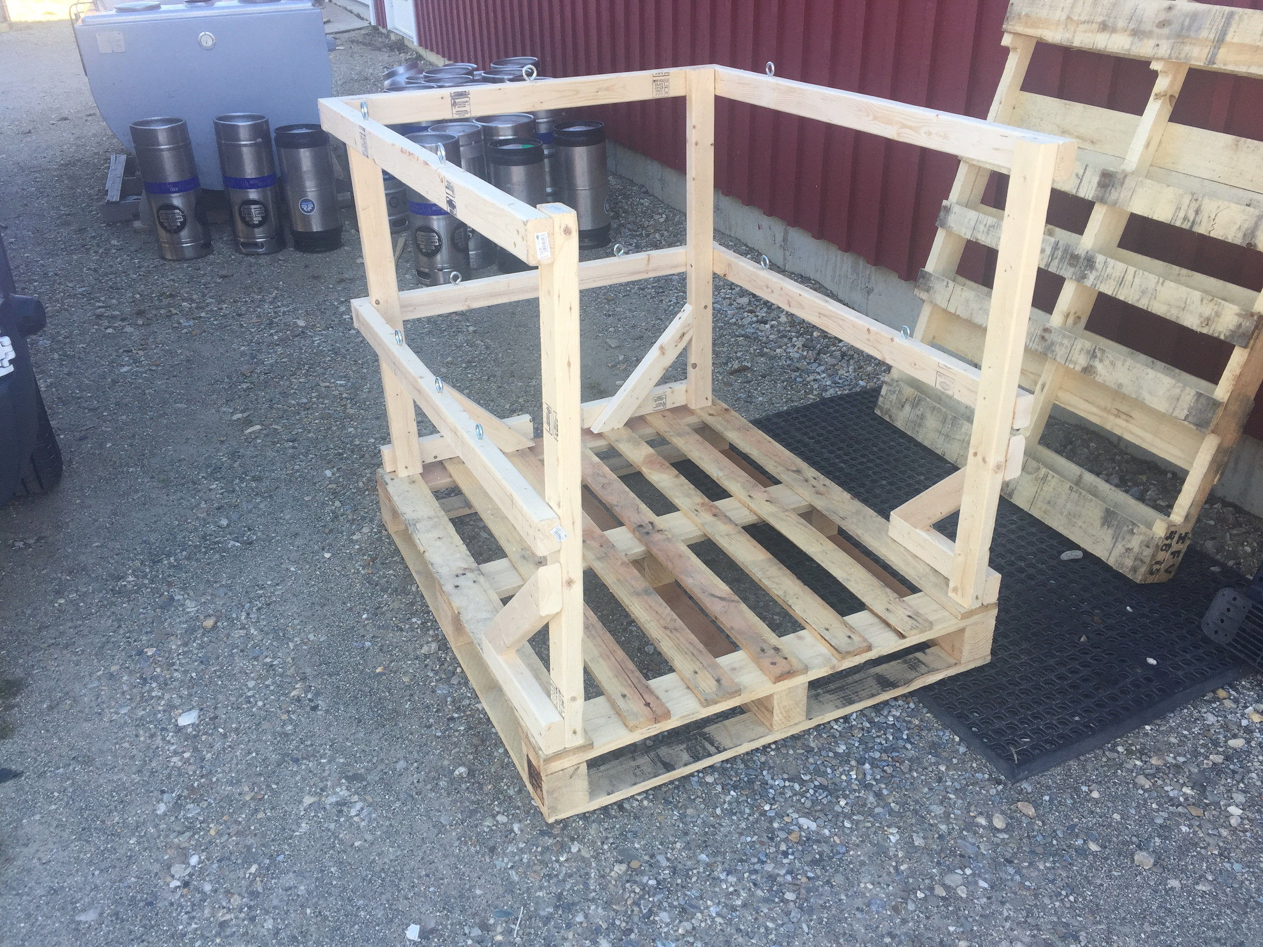 I also designed and built these handy dandy pallets for our beer delivery van.