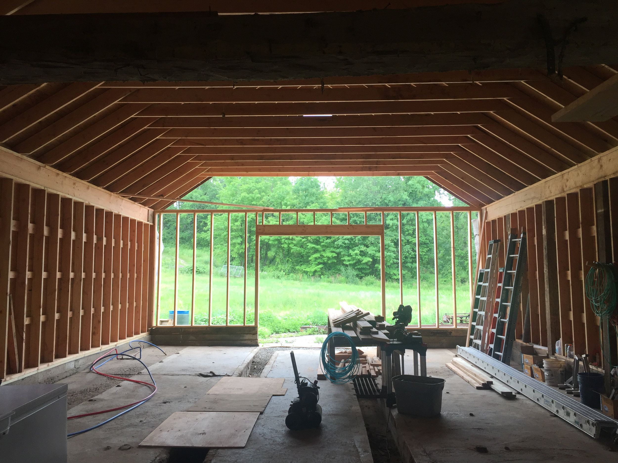 Rebuilding the inside of the barn to make sure it didn't fall over.