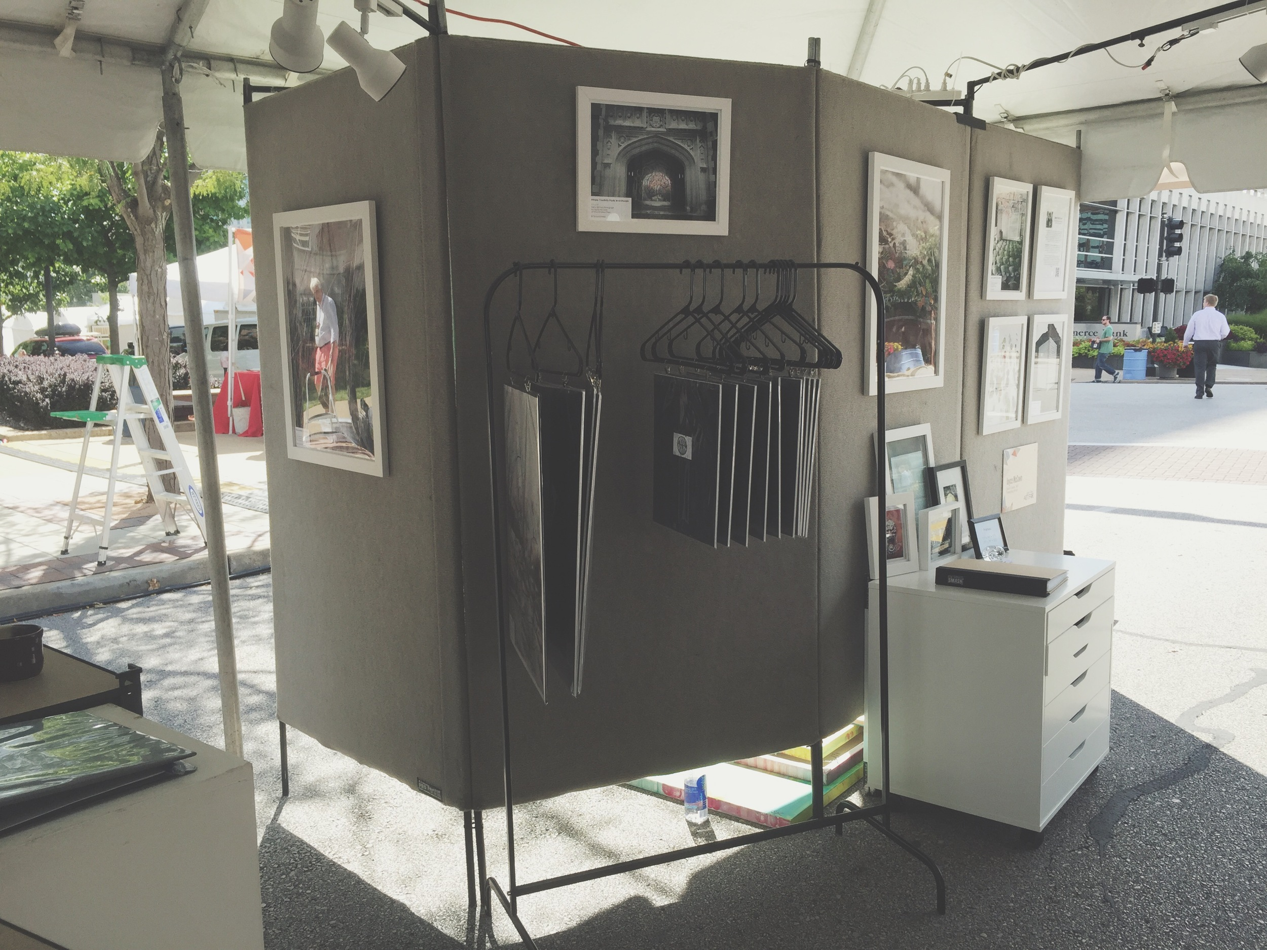This was the first time I've used a clothing rack to display artwork, and I loved it! It worked great, except that the wind kept pushing all the pieces to one side.