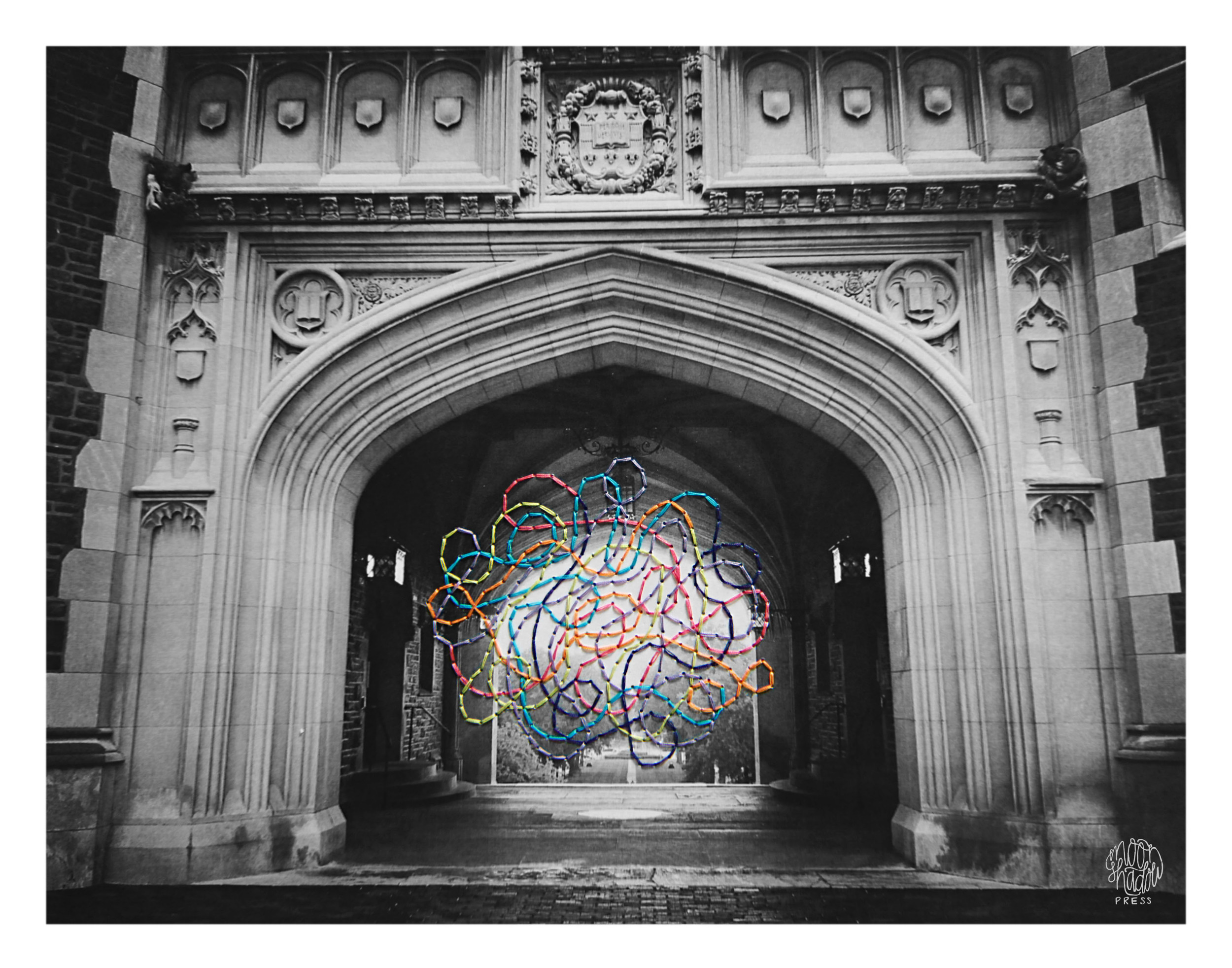 Thought Cloud VI: WCP Archways (embroidered photo)
