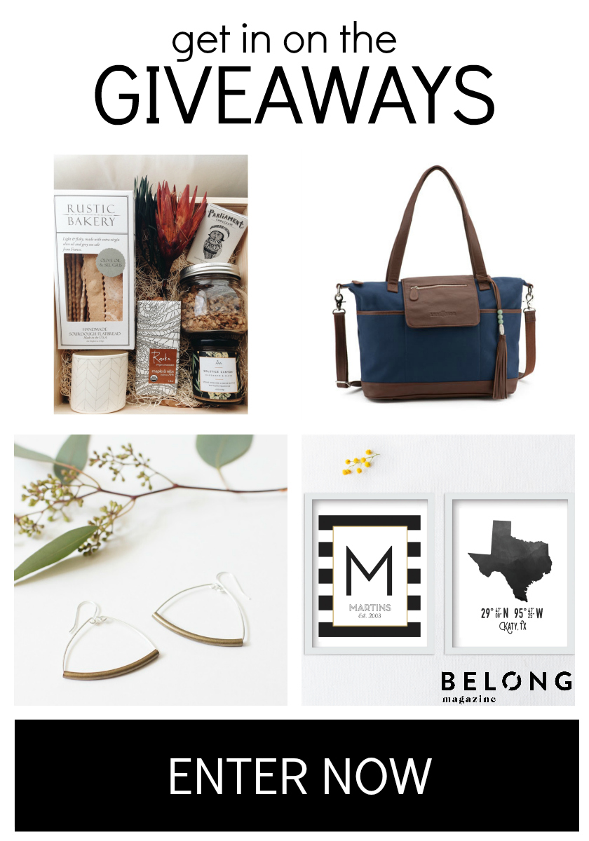 Enter now for a chance to win one of these classy items: Treat Box from The Adia Box, Diaper Bag from Lily Jade, Prints from Lettered and Lined and Brooklyn Hoops from DBH Boutique.