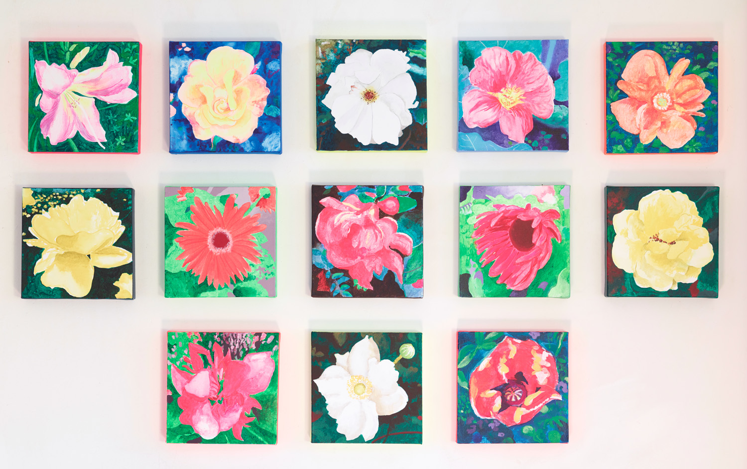 "Flower Piece. 13 Mixed Media on Canvas Paintings, each 10""x10"". 2016-17"