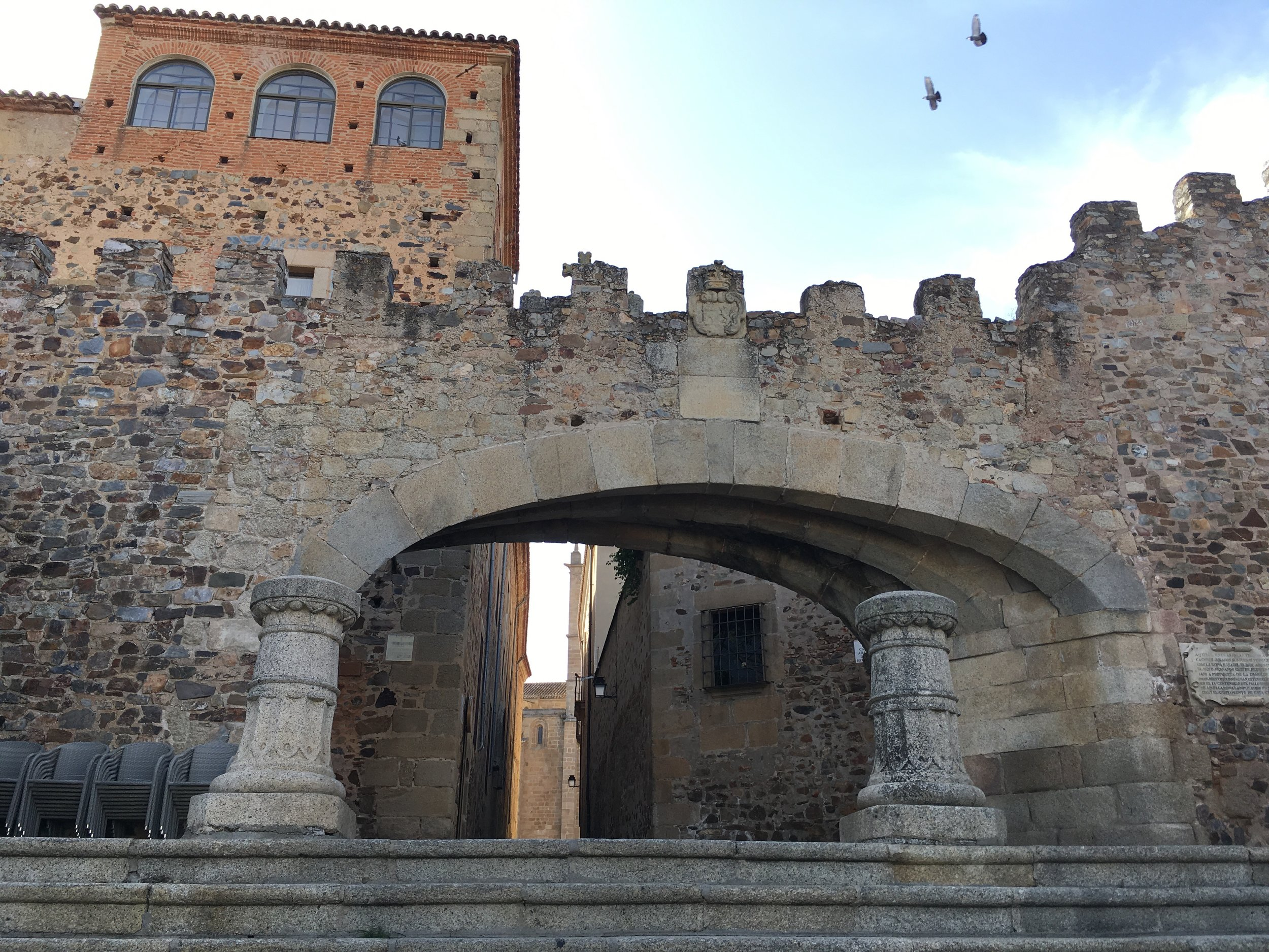 Entering the city walls of Caceres takes us back to medieval times.