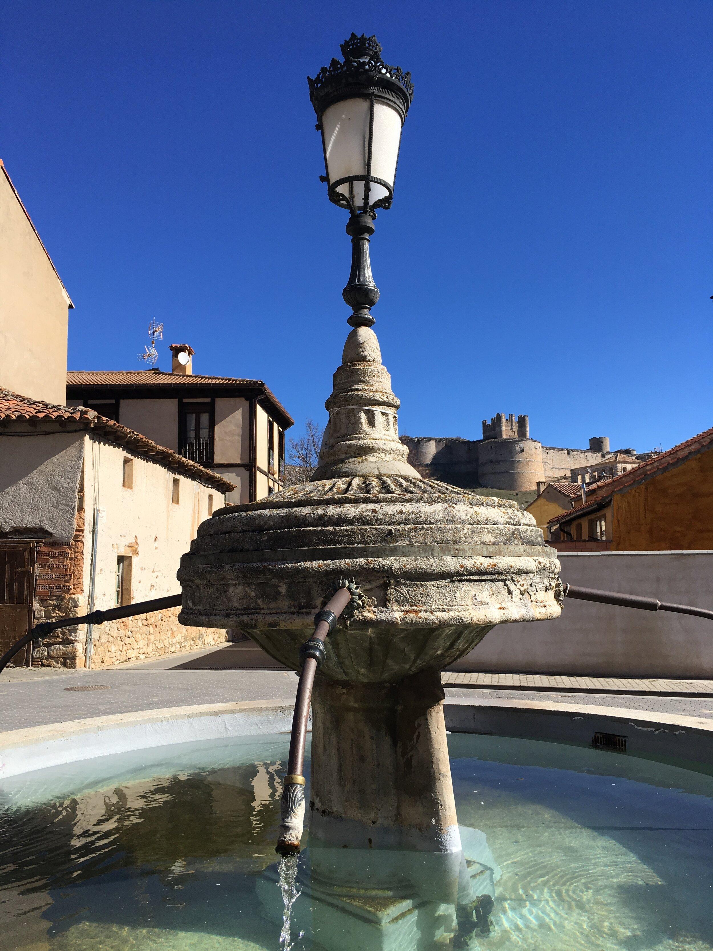 A gentle fountain in the church plaza of Berlanga de Duero.