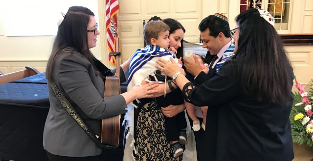 Cantor Jennifer Rueben & Rabbi Rosalin Mandelberg conduct a Baby Naming at Ohef Sholom