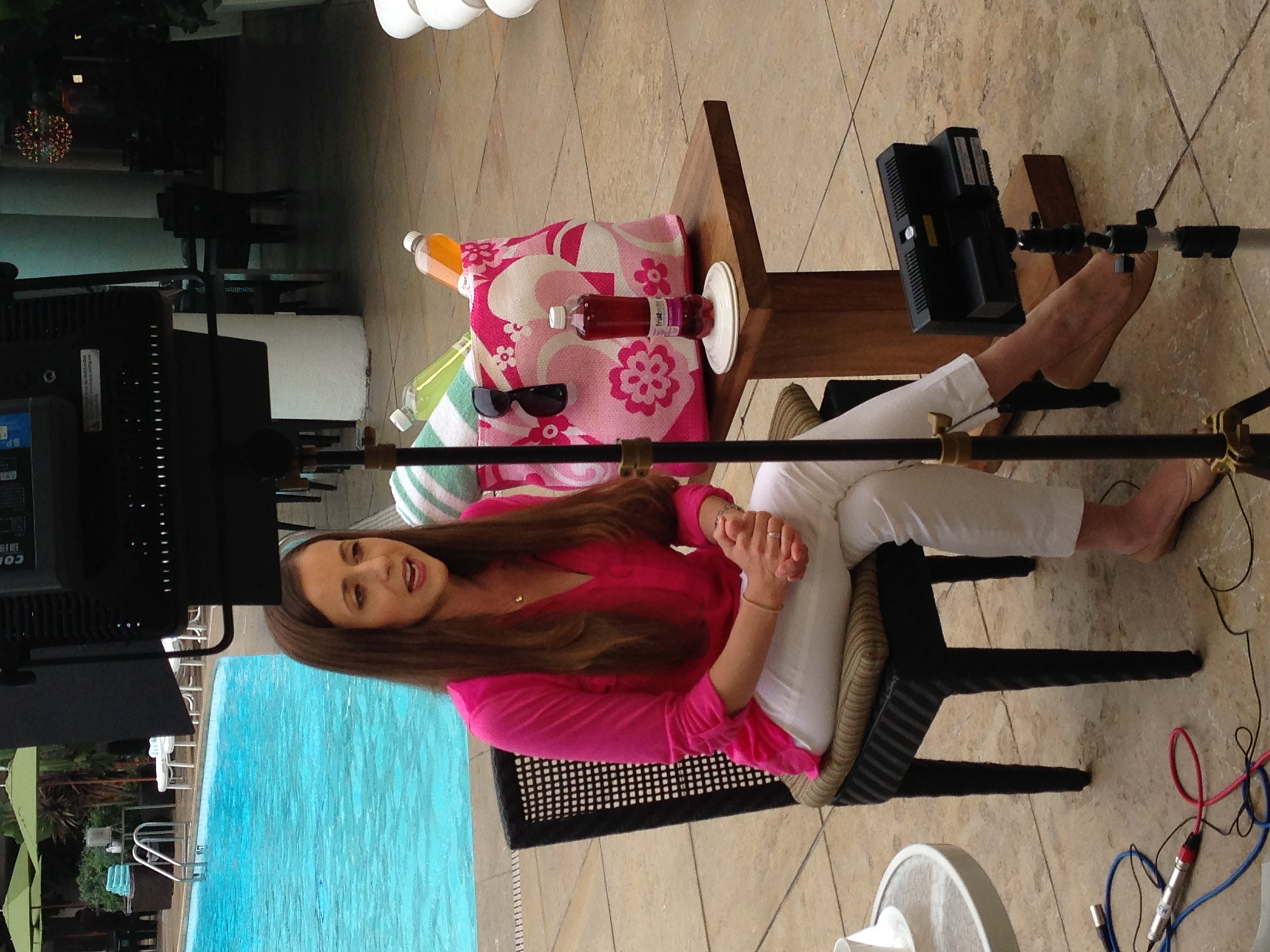 LeeAnn filming for a satellite media tour