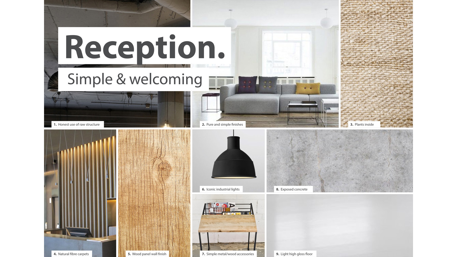 DESIGN MOODBOARD OF RECPETION AREA