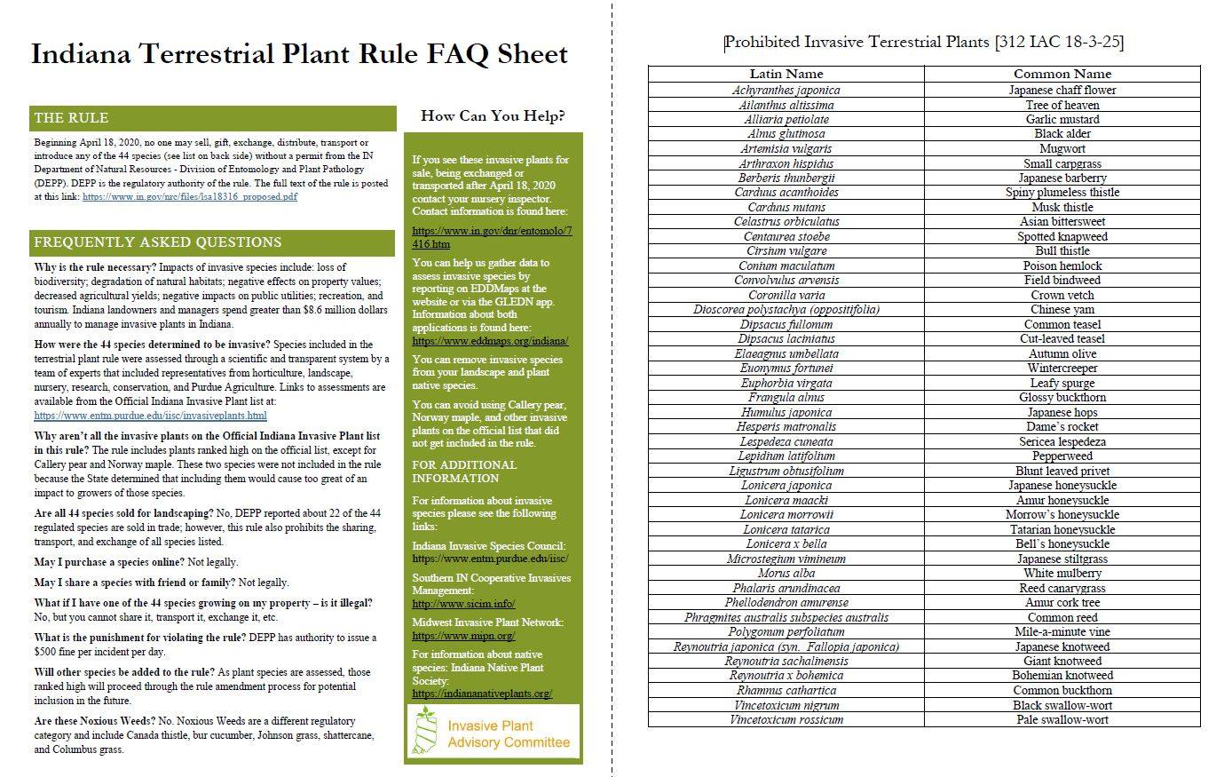 The IPAC Terrestrial Plant Rule Fact Sheet publication