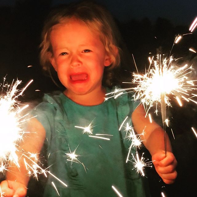 Happy 4th! Papa's pyro tendencies werent inherited #fivesparklers