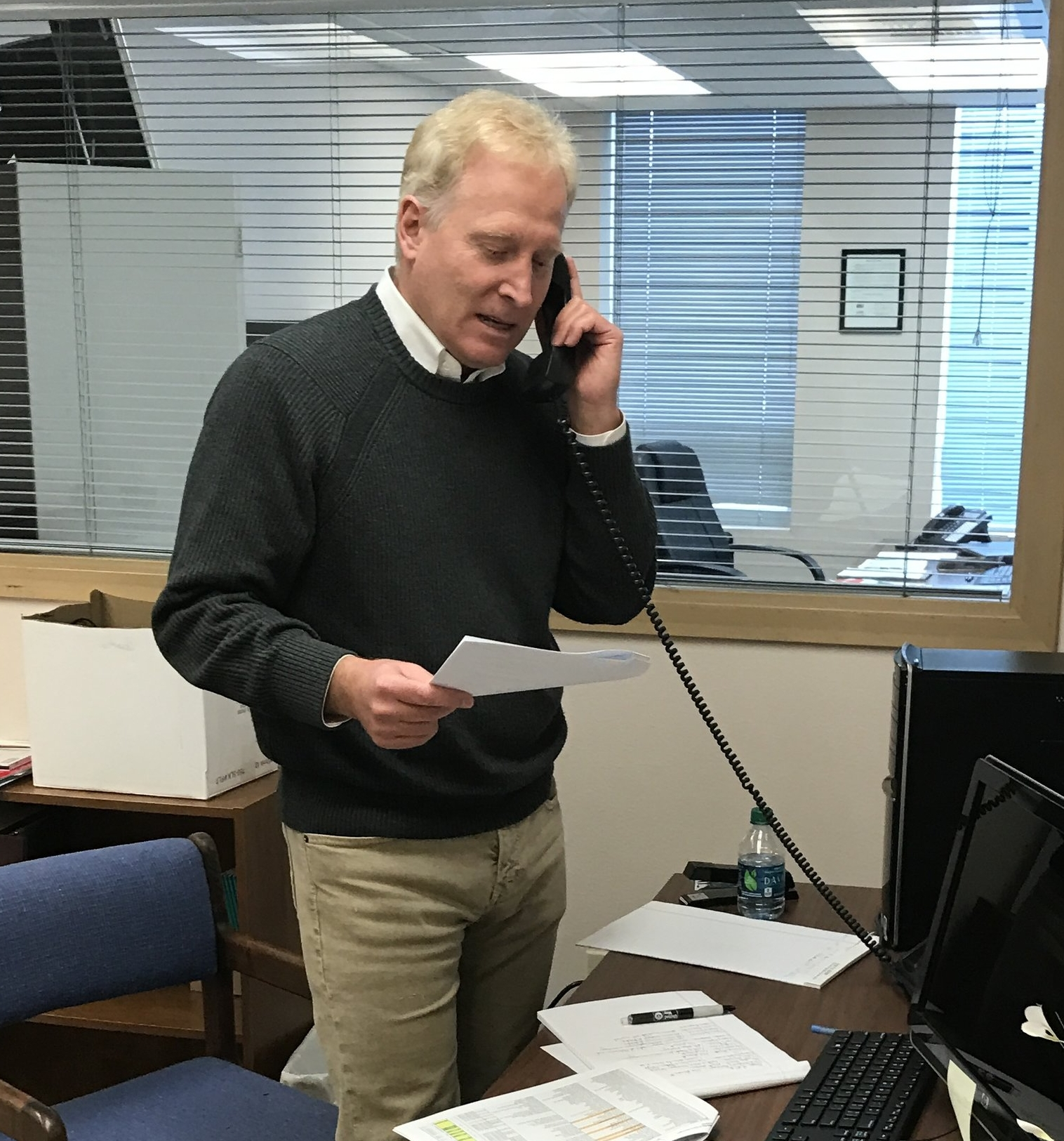 Jim Wilkinson making calls for the United Way