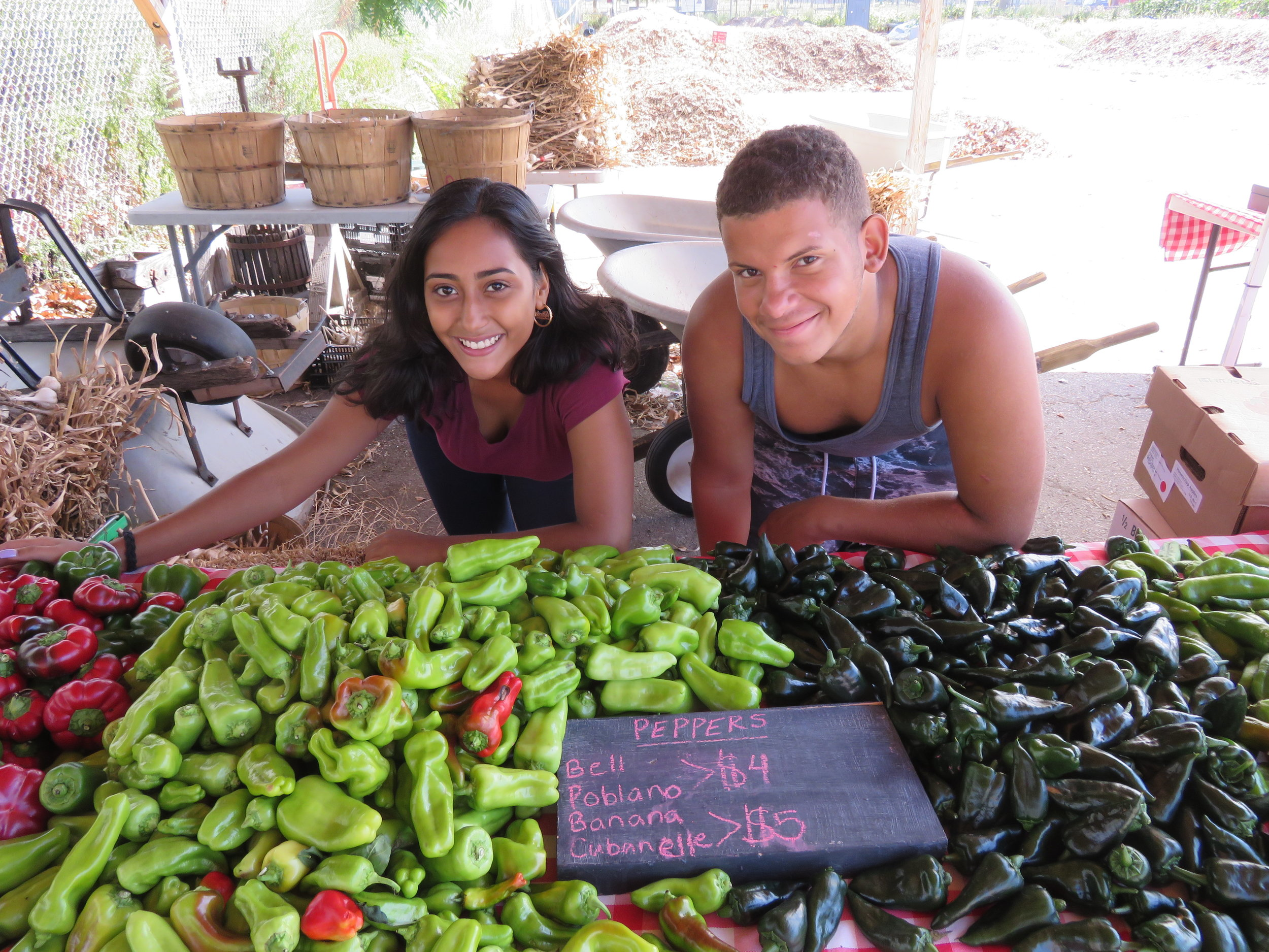 The market crew showing off their beautiful pepper display.