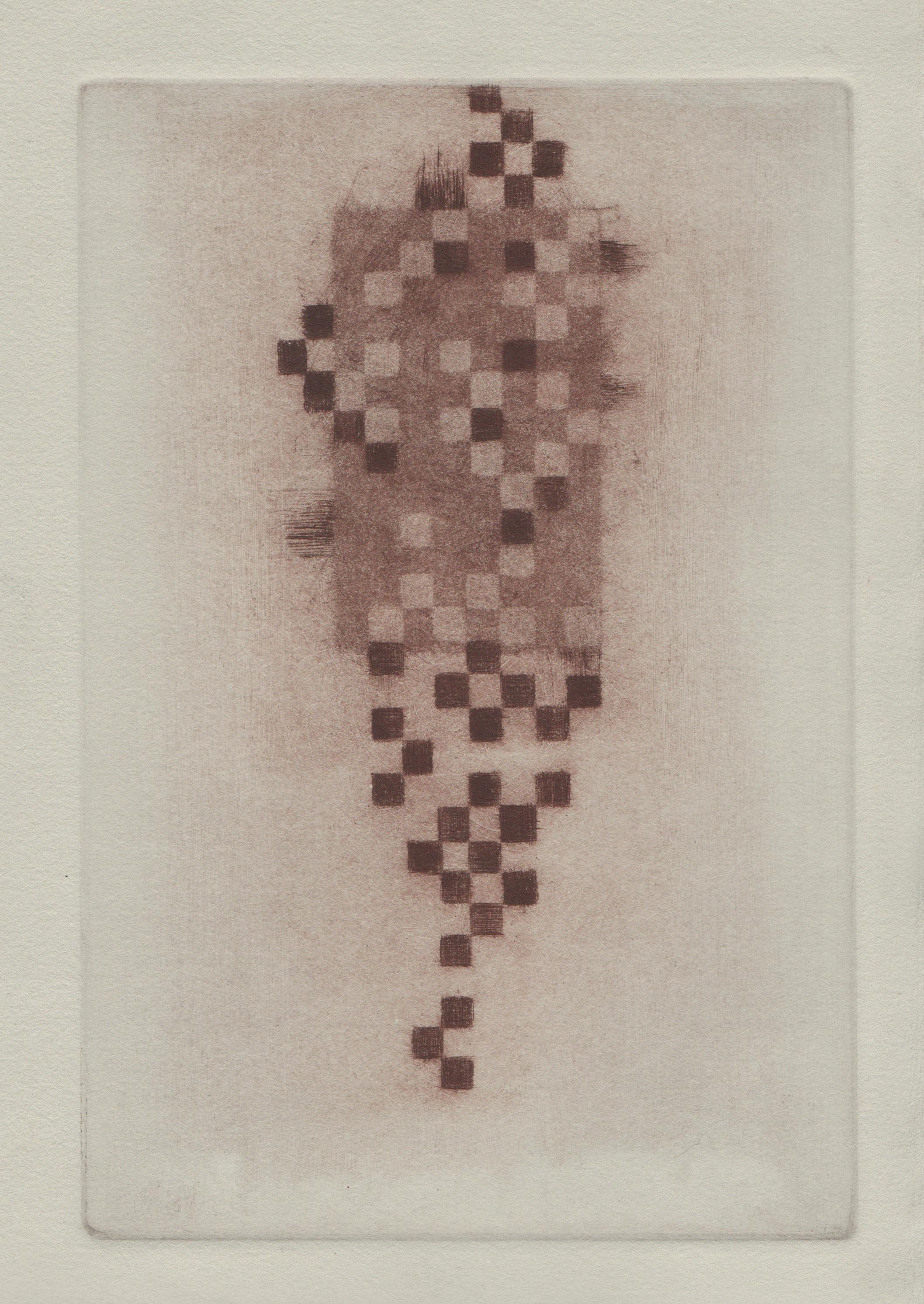 Dead Pixels, 2014, mezzotint and drypoint, 14x11in
