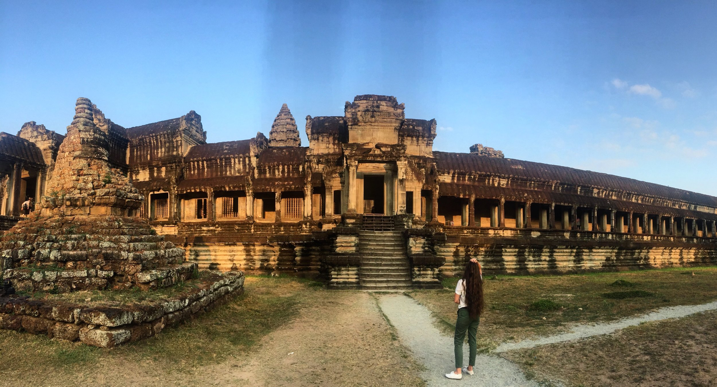 Below the back steps of Angkor Wat (Capital Temple) in the Siem Reap Province of Cambodia.