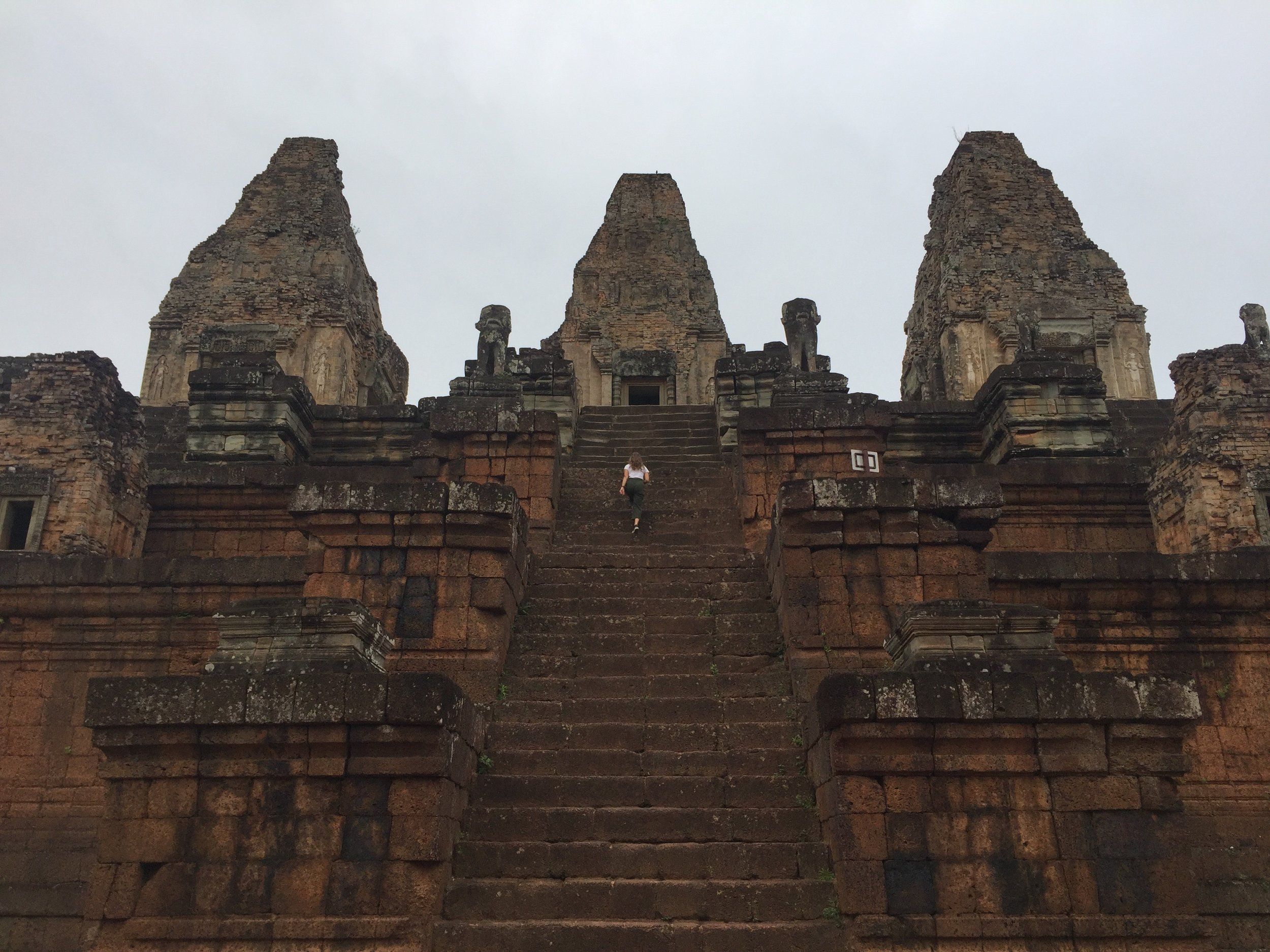 East Mebon Temple - 10th Century AD Hindu temple dedicated to the deity Shiva built during the reign of King Rajendravarman II. Originally it stood above water.