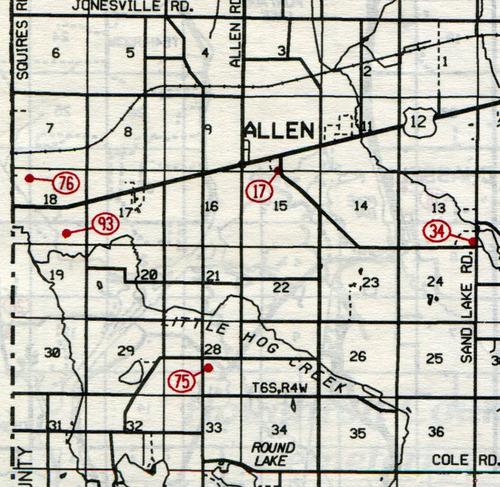 Allen Twp. T-6-S R-4-W                                                            17... Allen    34... Sand Lake (North Sand Lake,      East Allen or Cutter)    75... South Allen    76... Walsh-Ives (Dorris)    93... Layton Grave