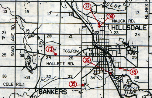 Hillsdale Twp. T-6-SR-3-W                                                            35… King Lake    36… Saint Anthony's Catholic    37… Oak Grove (Oakgrove)    45… Lake View (Lakeview or Dutch Hill German Lutheran)    73… West Bacon    90… Mausoleum---site