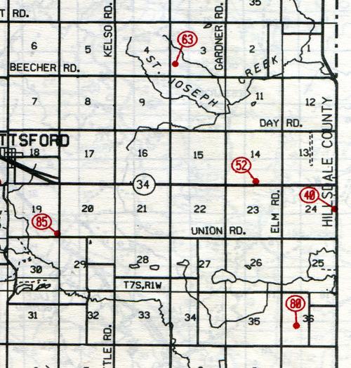Pittsford Twp. T-7-SR-1-W                                                            40… Calvary Catholic    52… Lane (Goodrich)    63… Locust Corner (Kane)    85… Bacon Farm Grave    80… Brooks--site