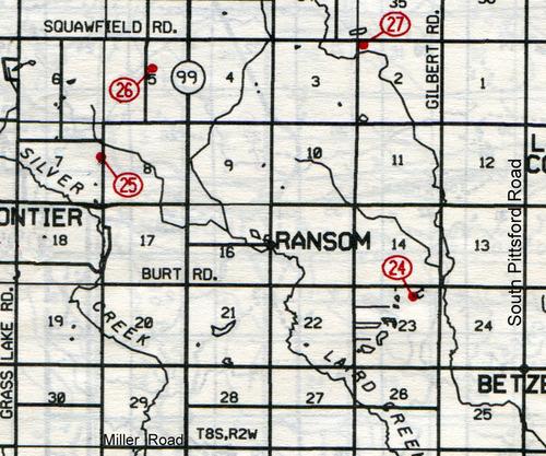 Ransom Twp. T-8-SR-2-W     24… Evergreen (Burt)    25… Wild Cherry (Andridge)    26… Doty    27… Mud Lake (Egglestor or Teachout)