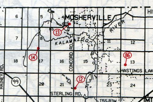 Scipio Twp. T-5-SR-3-W                                                            12… Johnson    13… Mosherville    14… Case    86… Pope (Granger)