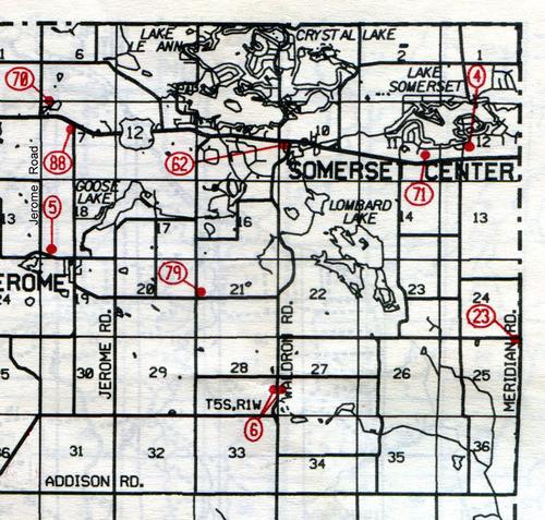 Somerset Twp. T-5-SR-1-W                                                            4… Somerset    5… Jerome    6… Aldrich    23… Smith (Pratt)    62…Somerset Center    70… Fowler    71… Gay (Indian)    79… Butcher Farm    88… Brooks--site