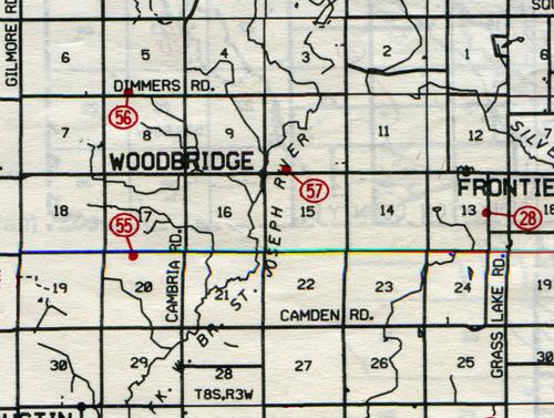 Woodbridge Twp. T-8-SR-3-W                                                            28… Frontier    55… West Woodbridge (Jenkins)    56… Devine (Divine)    57… Sheldon