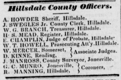 Hillsdale Whig Standard July 7 1846 Officers.jpg