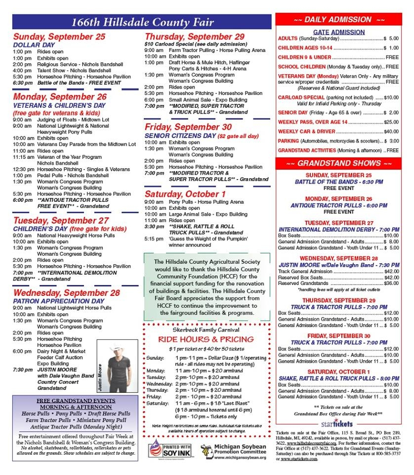 2016 Hillsdale County Fair Schedule