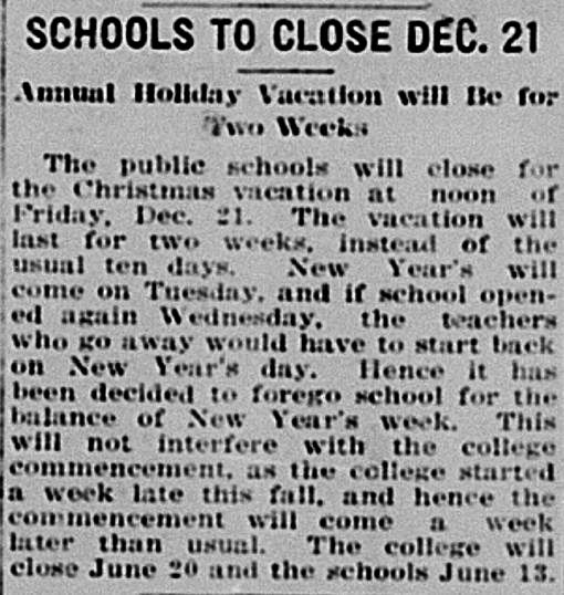 Christmas Break Extended Hillsdale Daily News Dec 14 1917