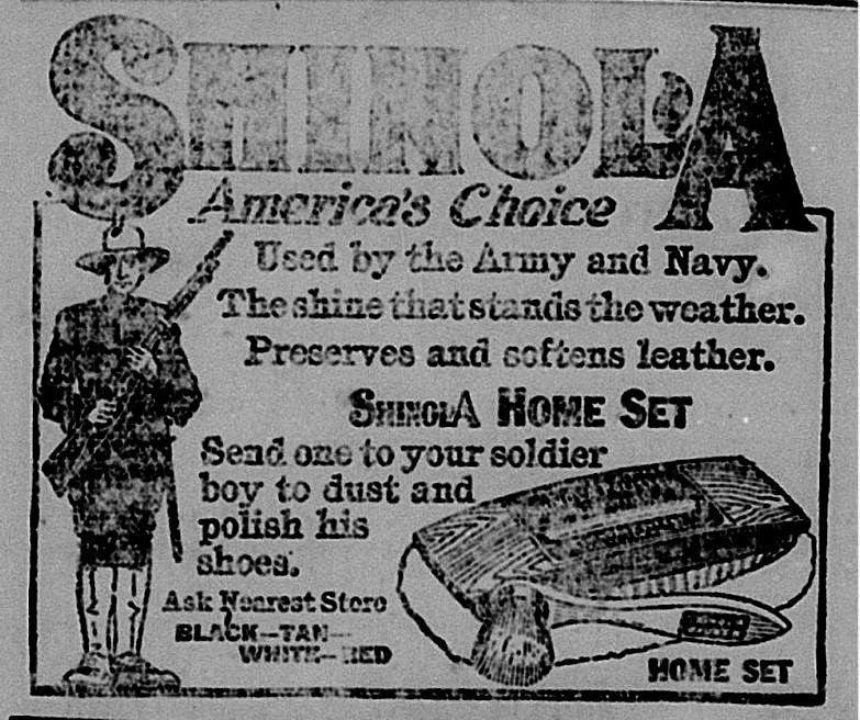 Shinola Ad Shoe Shine Kit Hillsdale Daily News Dec 12 1917