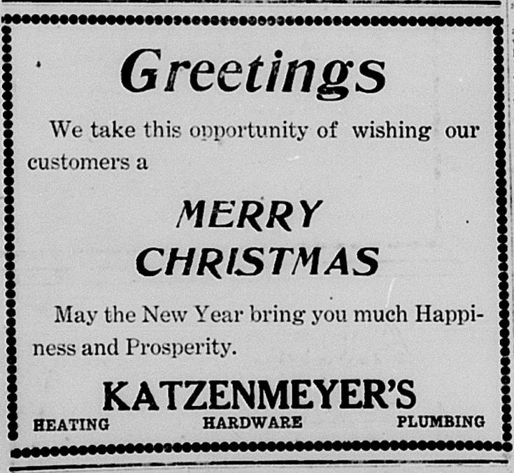Katzenmeyer's Hillsdale Daily News Ad Dec 24 1917