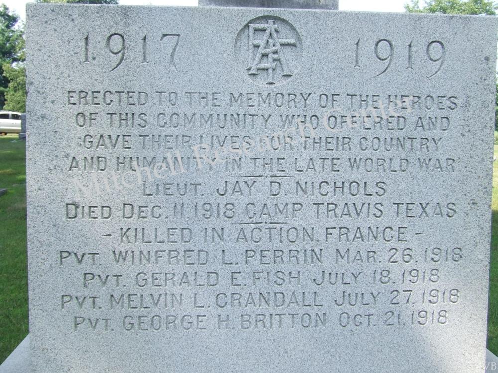 Leonardson Memorial Cemetery Closeup Pittsford MI