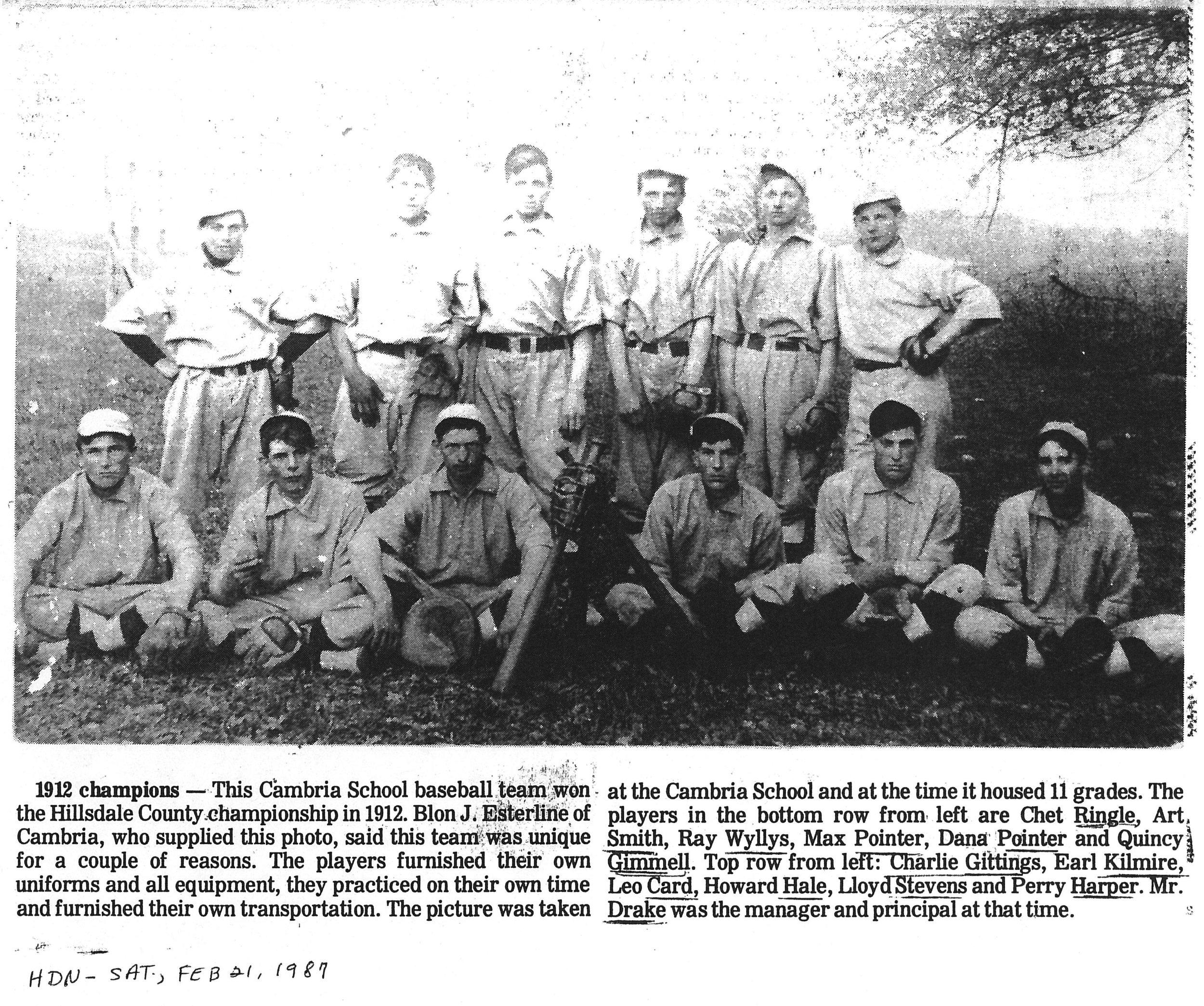 Cambria HS Baseball Team 1912.jpg