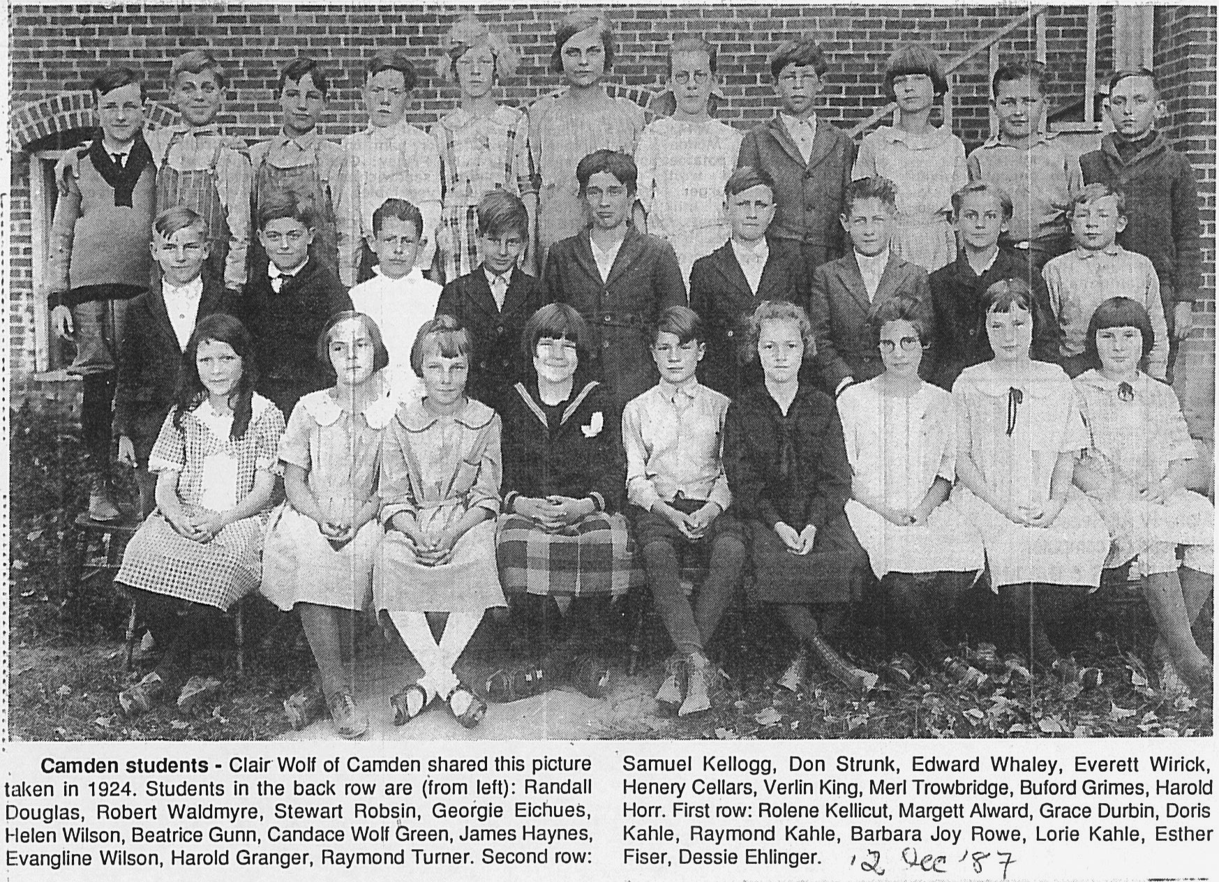 Camden School 1924 Dec. 12, 1987 HDN