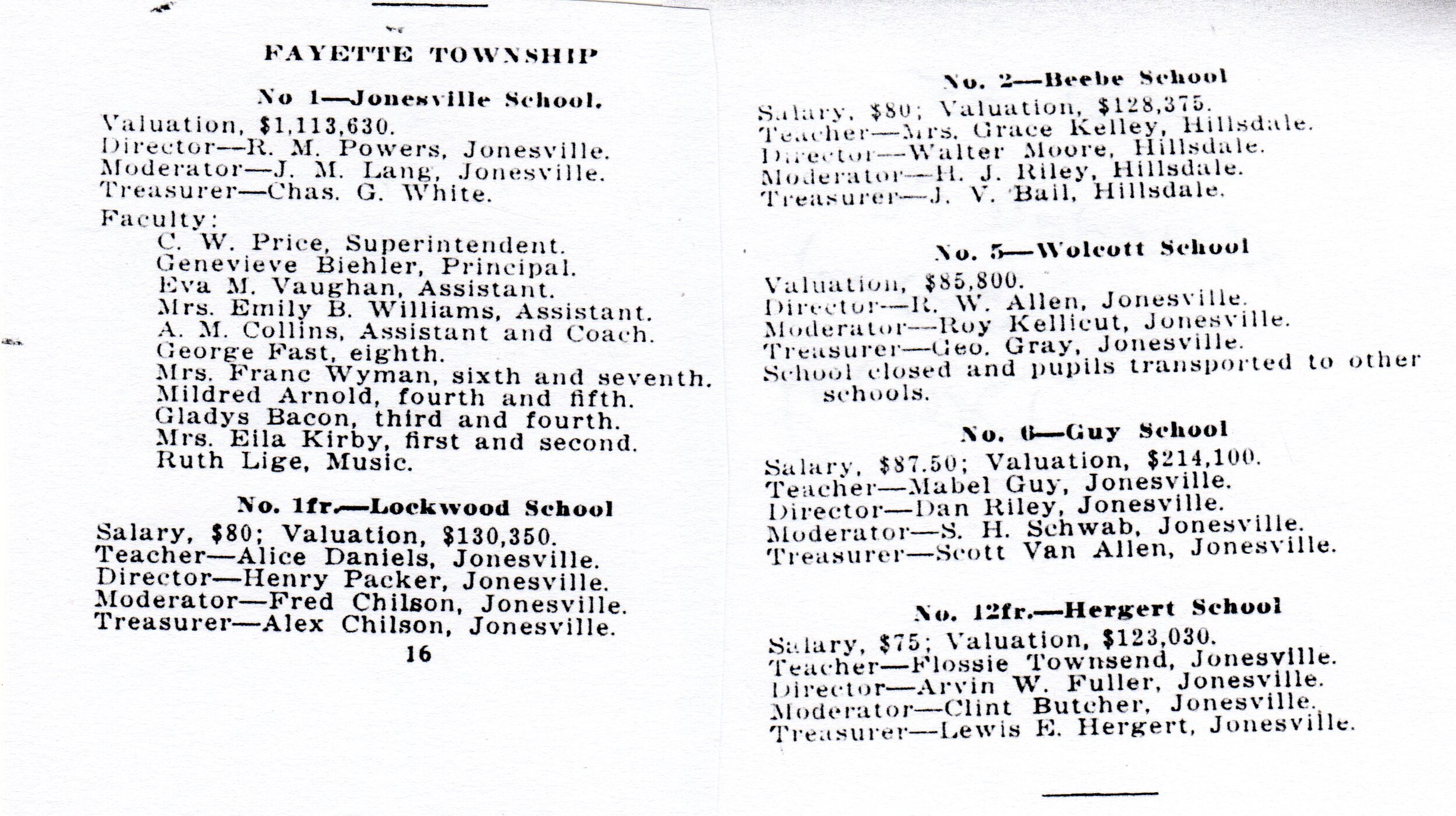 1924-25 Hillsdale Co. School Directory