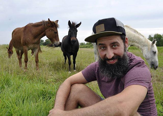 | H O R S I N G  A R O U N D | (dans un champ) . .📸@kassideeq . . #horses #beard #man #travel #adventure #portraitphotography #animals #nature #hat #fabulux #horse #kansas #midwest @spazzidee