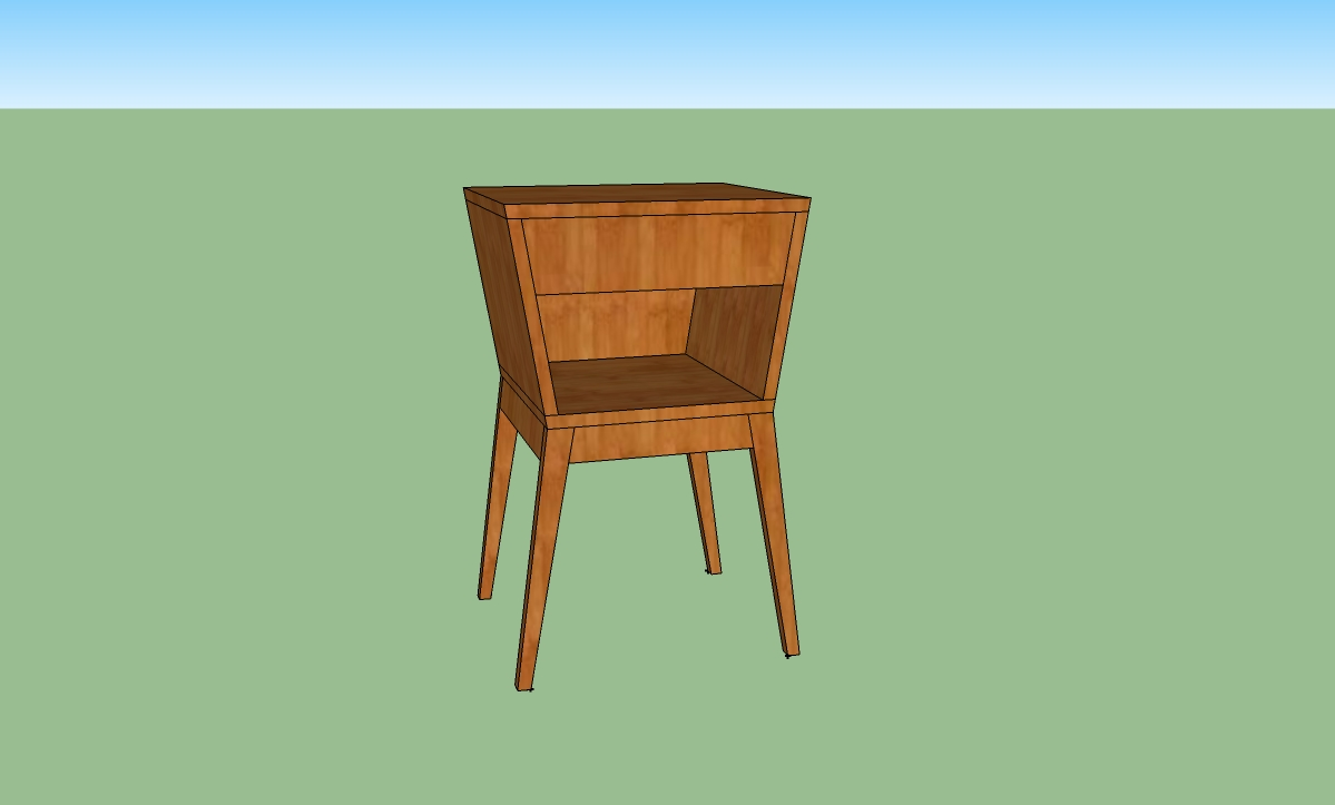 "Proposed nightstand design for private client, commissioned in solid german beech.  17"" x 27"" x 15,"" summer 2014.   Design available for commission, see contact page for details."