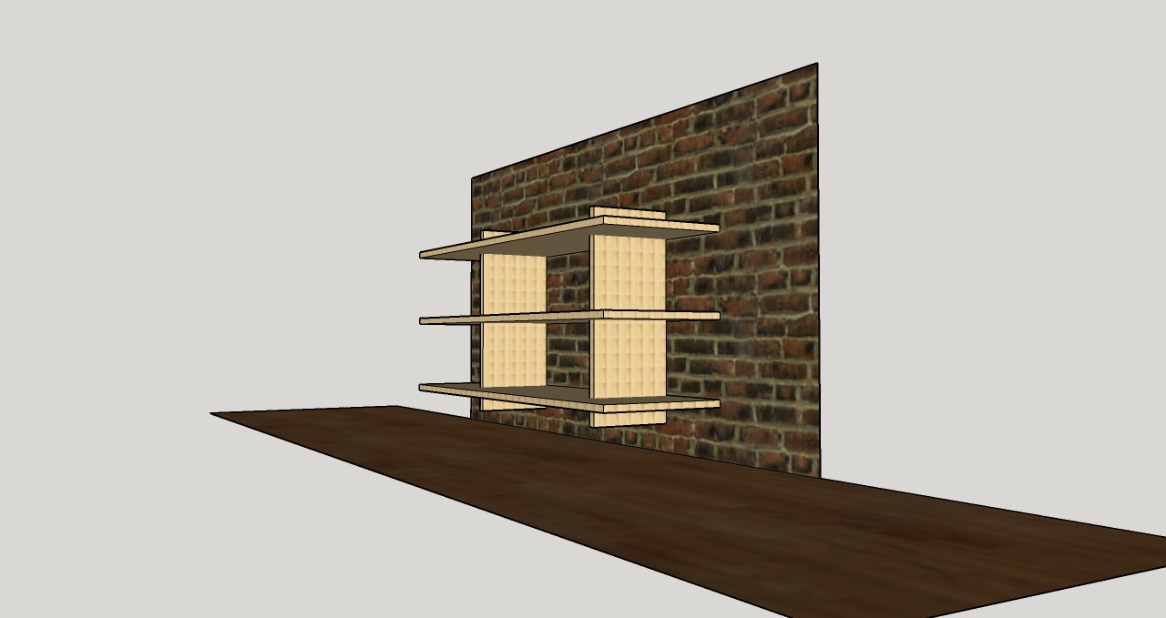 Proposed design for merchandise shelving at Steel String Brewery (Carrboro, NC), December 2015.