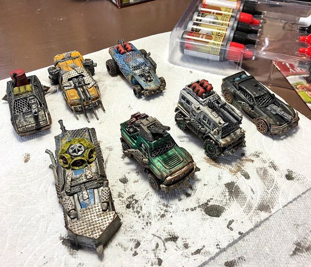 The wash coat is drying on this round of #gaslands cars. Still have 3 more primed I hope to paint tomorrow. Not a bad output for a week.