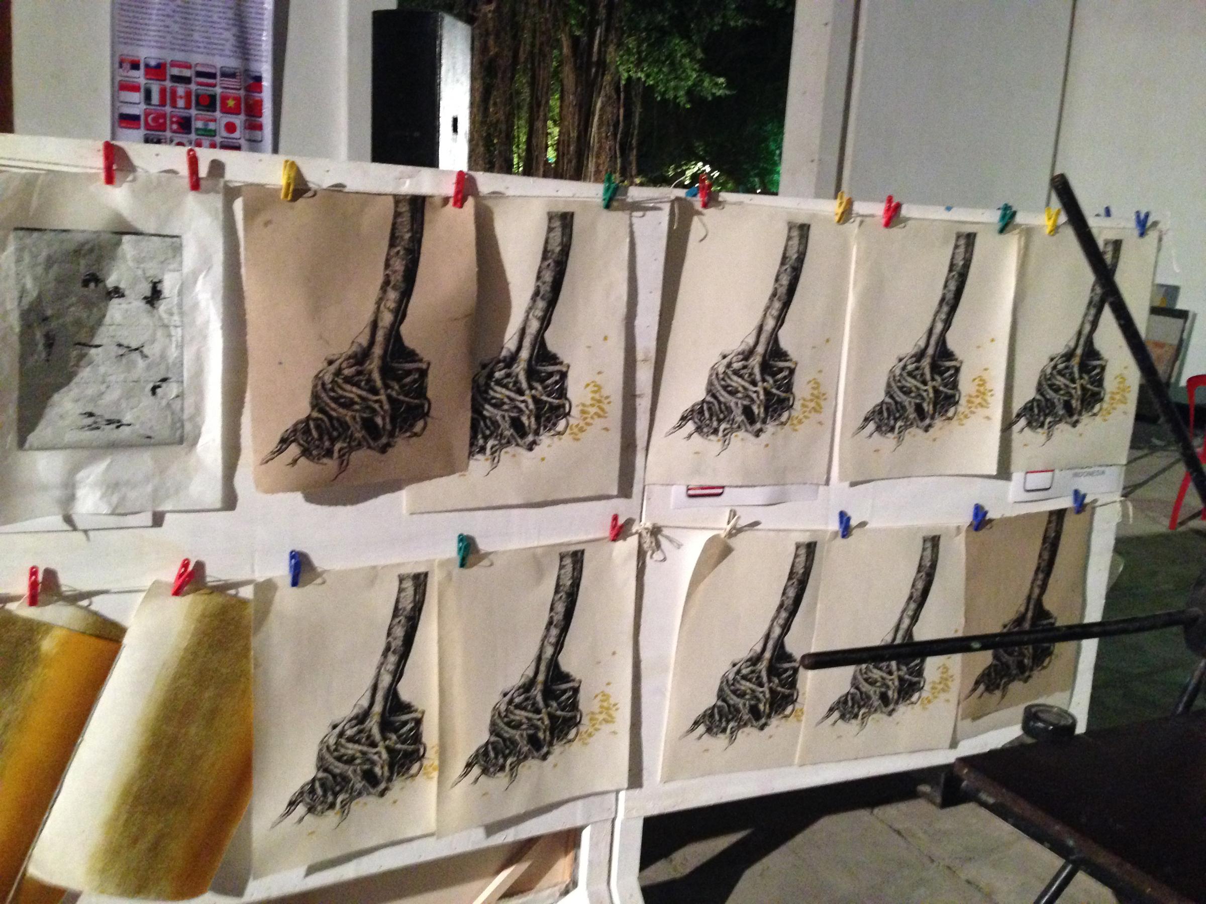 c_Carolyn prints drying.jpg