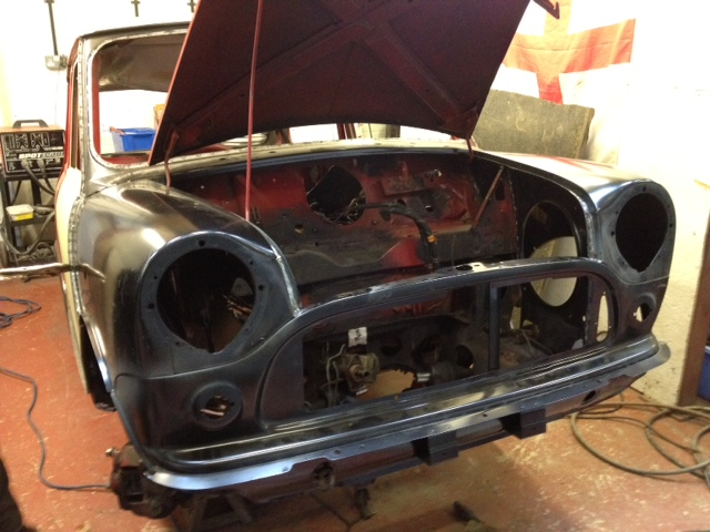 Front of Mini Cooper Monte Carlo During Restoration
