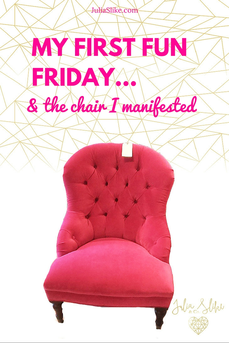 The perfect pink chair was in the front door as soon as I walked in the store!