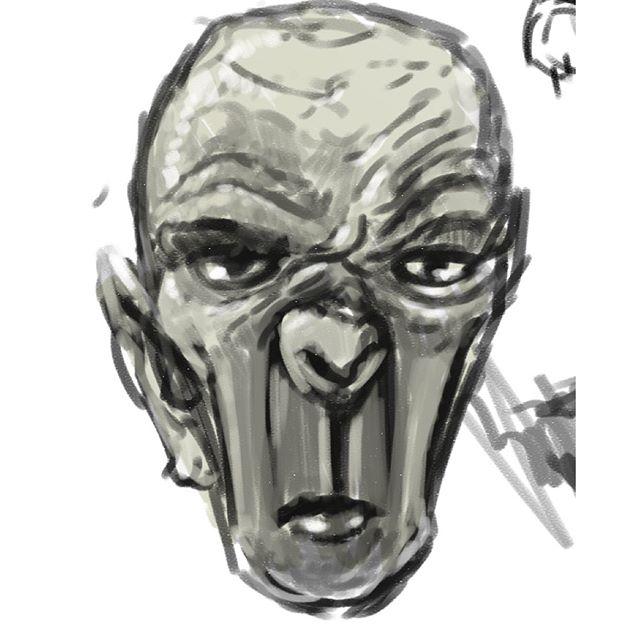 Still no AC. I did a quick sketch of an ornery vampire. #illustration #drawing #vampire