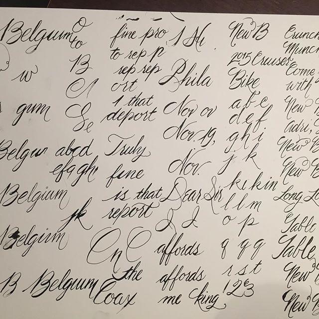 Drinking and practicing my Spencerian script. #handlettering #calligraphy #penandink #goodtype #practice