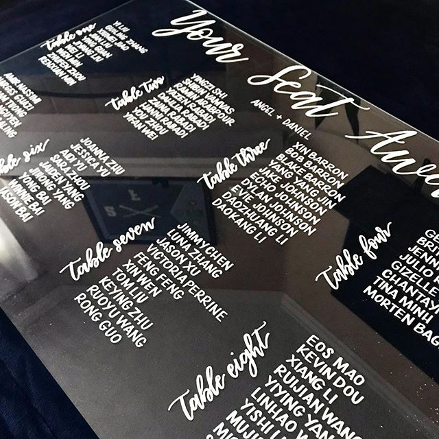 It's tricky photographing plexiglass but here's a nice little seating chart display I did last week. 👩🏻‍🎨 . . . . . . . #moderncalligraphy #calligraphy #weddingcalligraphy #weddingcalligrapher #ocwedding #cotodecazawedding #cotodecazacountryclub #calligraphynerd #calligraphymasters #seatingchart #seatingchartdisplay #seatingchartcalligraphy #lagunabeach #occalligraphy