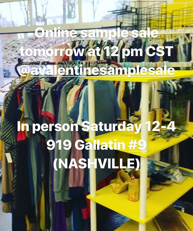 🚨ALERT!🚨 @valentimes is having a sample sale, starting tomorrow at ✨NOON✨ online & from 12-4 on Saturday at 919 Gallatin in East Nashville! Cash/card/Venmo/PayPal accepted! Check @avalentinesamplesale for deets! 💖