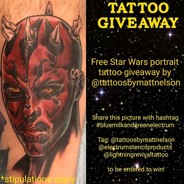 Time for a tattoo giveaway! In honor of #maythe4thbewithyou I am giving away a free Star Wars portrait!  How to enter: 1) Comment here what Star Wars portrait you would get if you win! 2) Share this picture with hashtag #bluemilkandgreenelectrum  Tag: @tattoosbymattnelson @lightningrevivaltattoo & @electrumstencilproducts 💚 *post must be public for entry to count. No #giveaway accounts* other stipulations may apply. Winner announced on #revengeofthe6th .. .. #maytheforcebewithyou #darthmaul #inagalaxyfarfaraway #starwarstattoo #tattoogiveaway #lightningrevivaltattoocompany #tattoosbymattnelson #electrumstencilprimer #bodyart #tattoos #ink #inked #art #starwarslife #starwarsfun #starwarstart #puremichigan #grandrapids #byroncenter #yes #mtfbwy #starwarscelebration