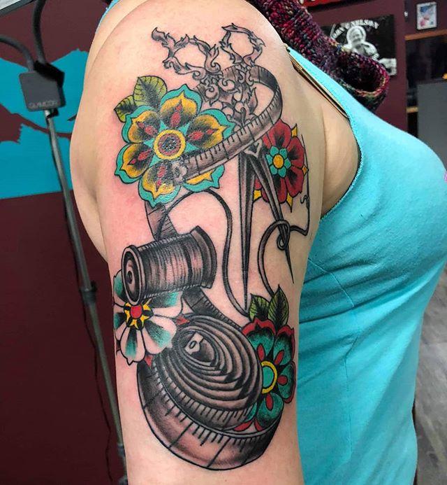 Girls just wanna have fun... at @lightningrevivaltattoo 💚 Sponsored by @electrumstencilproducts 🤘 .. .. @truetubes @saniderm #inkedgirls #girlswithtattoos #puremichigan #sleevetattoo #colortattoo #blackandgreytattoo #inklife #tattooed #picoftheday #tattoooftheday #lightningrevivaltattoocompany #tattoosbymattnelson #electrumstencilprimer #ink #art #tattooaddict #bodyart #grandrapids #byroncenter