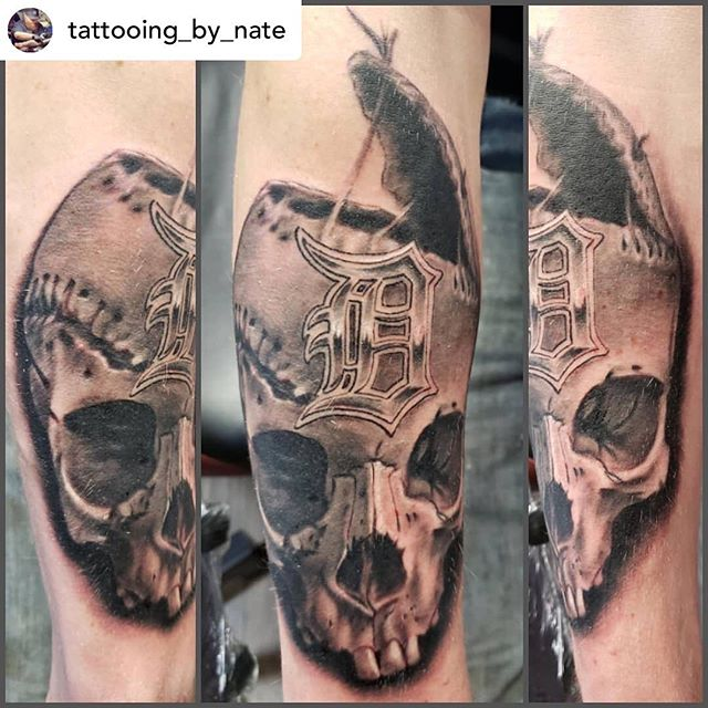 Posted @withrepost • @tattooing_by_nate  Deeeeeetroit Baaaseball ⚾️ . #LRNate #LRTC #lightningrevival #lightningrevivaltattoocompany #lightningrevivaltattoo #tigers #baseball #skull #skulltattoo #skulltattoos #blackandgreytattoo #blackgreytattoo #tattoo #tattoos #grandrapidstattoo #grandrapids #michigantattooartist #michgansfinest #michigansbesttattooers #detroit #detroittigers #detroittigersbaseball